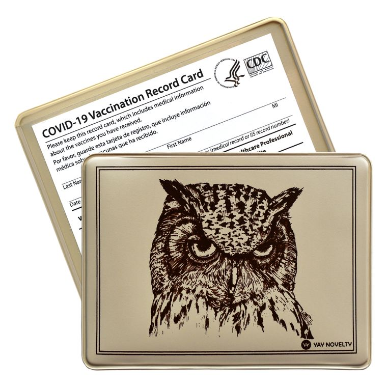 Vaccination Card Holder - Vaccine Card Protector - Made in USA - Wisdom Owl