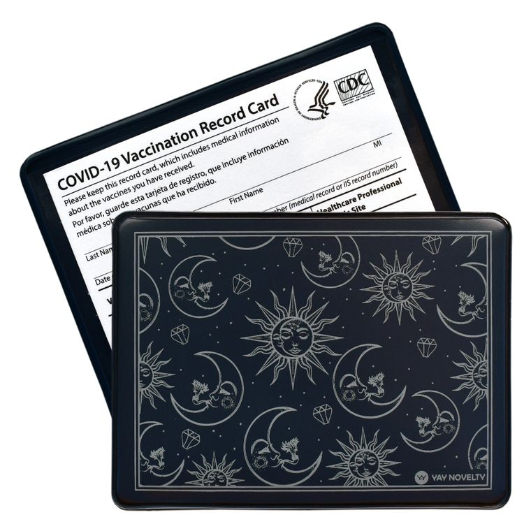 Vaccination Card Holder - Vaccine Card Protector - Made in USA - Moon and Sun