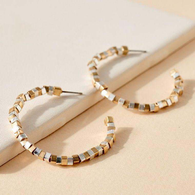 Cube Beads Open Hoop Earrings
