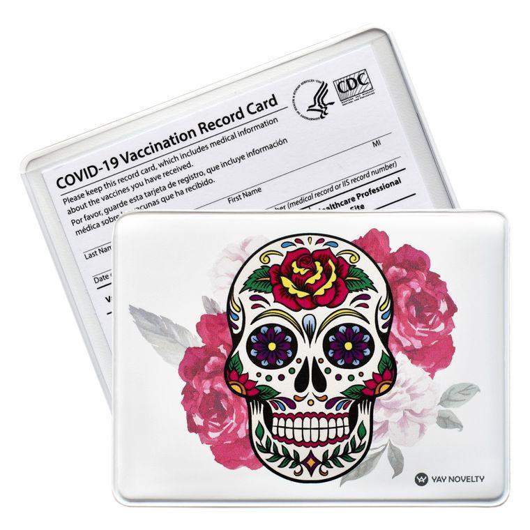 Vaccination Card Holder - Vaccine Card Protector - Made in USA - Calavera