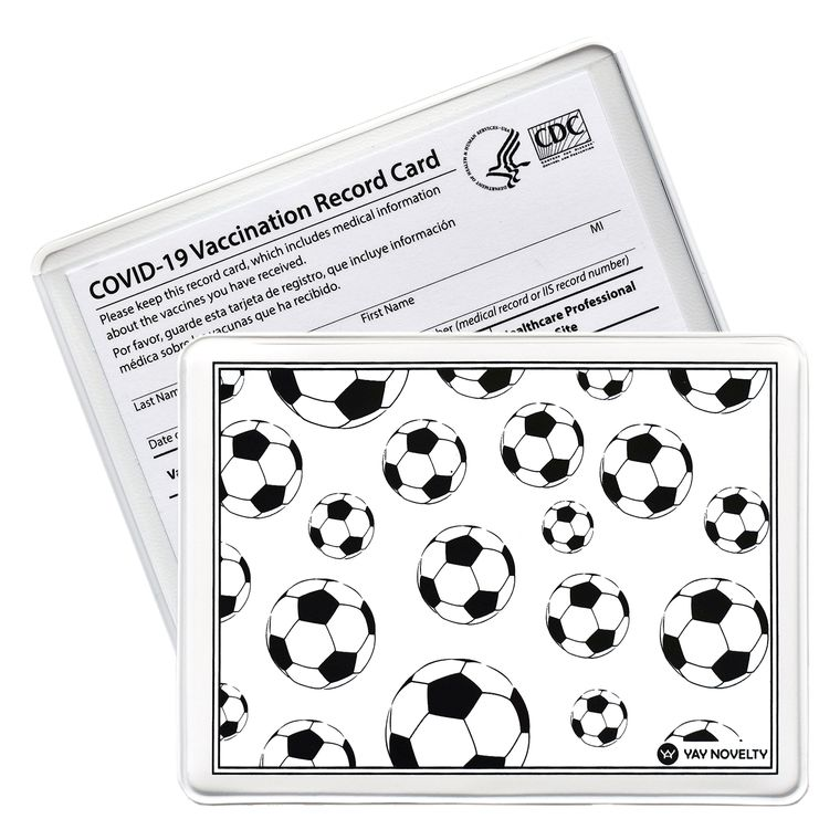 Vaccination Card Holder - Vaccine Card Protector - Made in USA - Soccer Balls