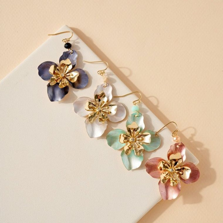 Floral Color Coated Metal Earrings