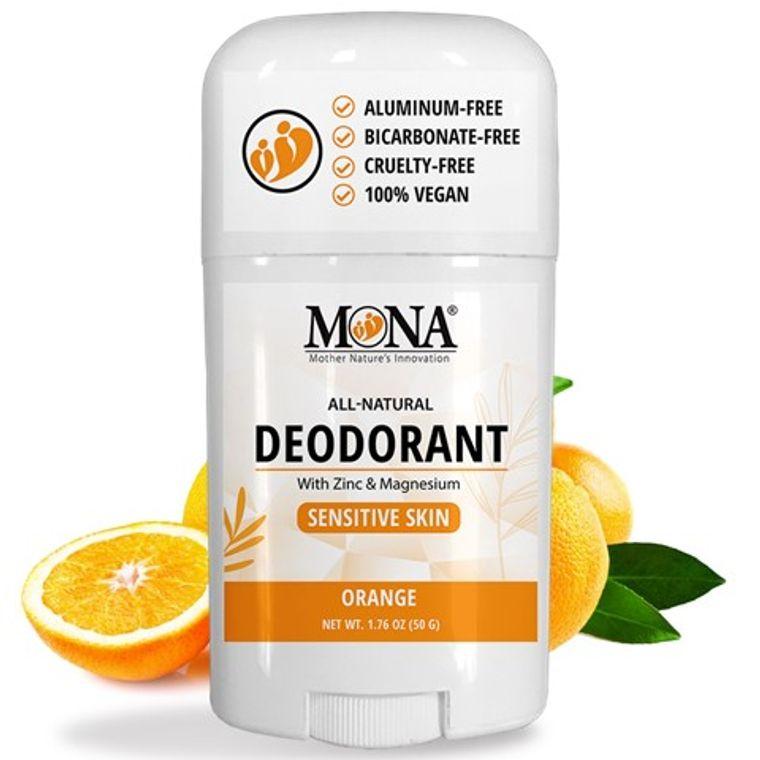 ORANGE | All Natural Deodorant for Women, Men, & Teens | Sensitive skin | NO Baking soda, Aluminum
