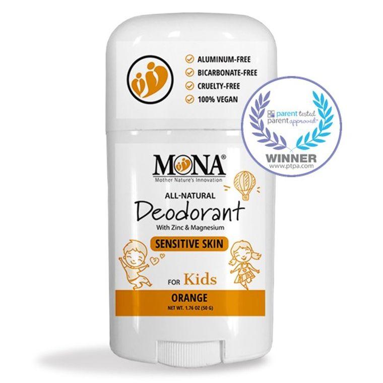 100% NATURAL DEODORANT for KIDS | For SENSITIVE SKIN | Aluminum & Baking Soda Free | ORANGE Scent