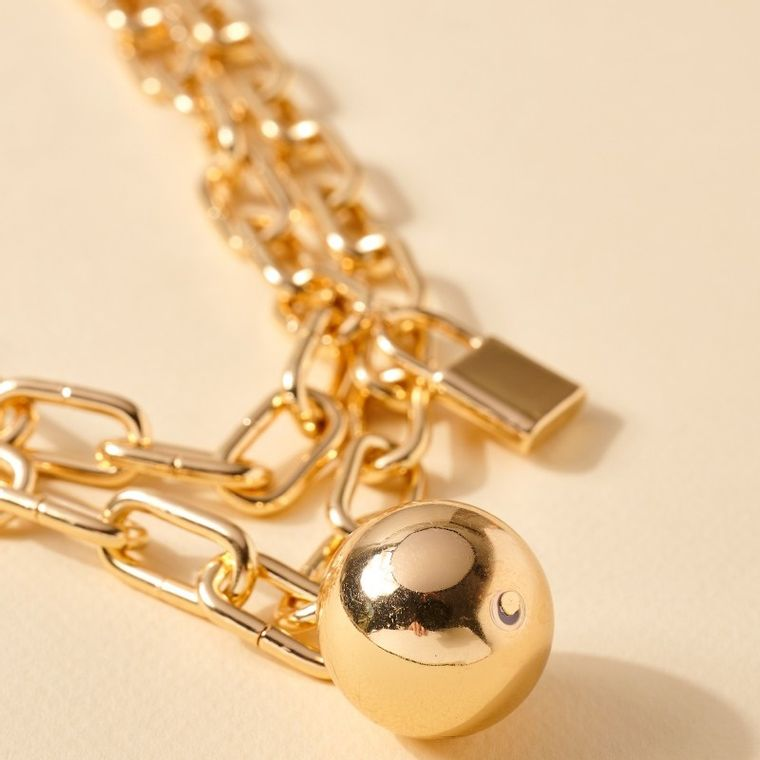 Lock Ball Charms Layered Necklace