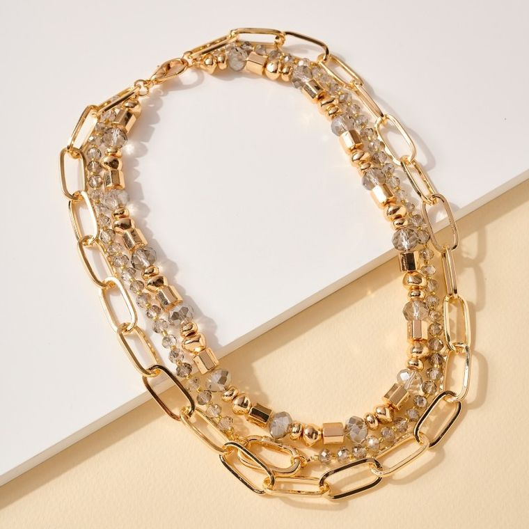 Glass Metal Beads Chain Link Layered Necklace