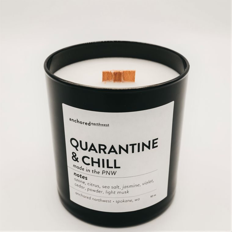 Quarantine & Chill - Black Tumbler w/ lid