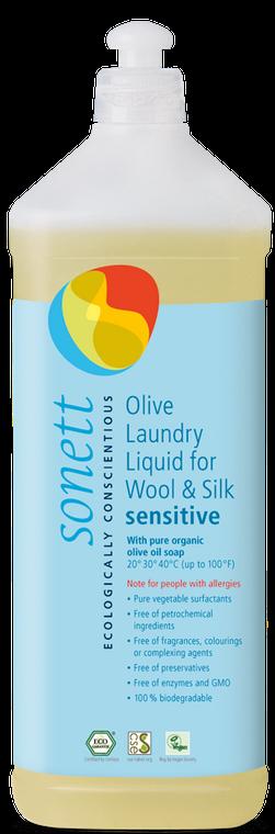 Sonett Eco Sensitive Olive Laundry Liquid for Wool and Silk 34 fl oz/ 1 Litre
