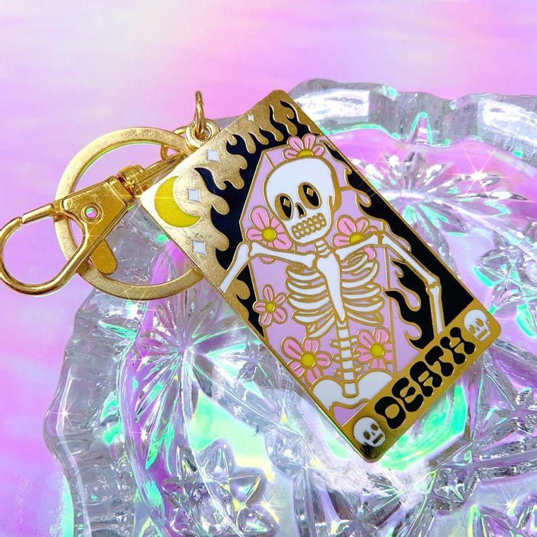 Death tarot card keychain