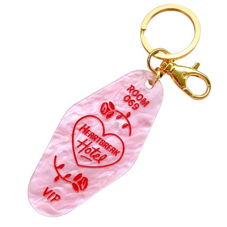 Heartbreak hotel pink acrylic motel keychain