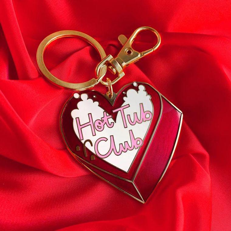 Hot tub club enamel keychain