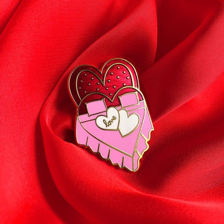 Heart shaped bed enamel pin