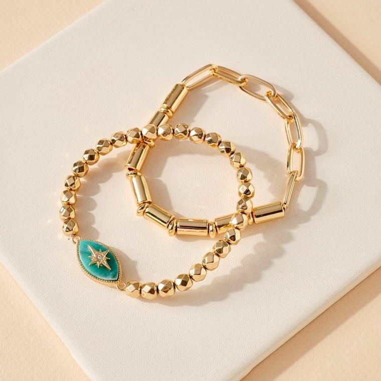 Star Accent Stone Charm Multi Chain Bracelets