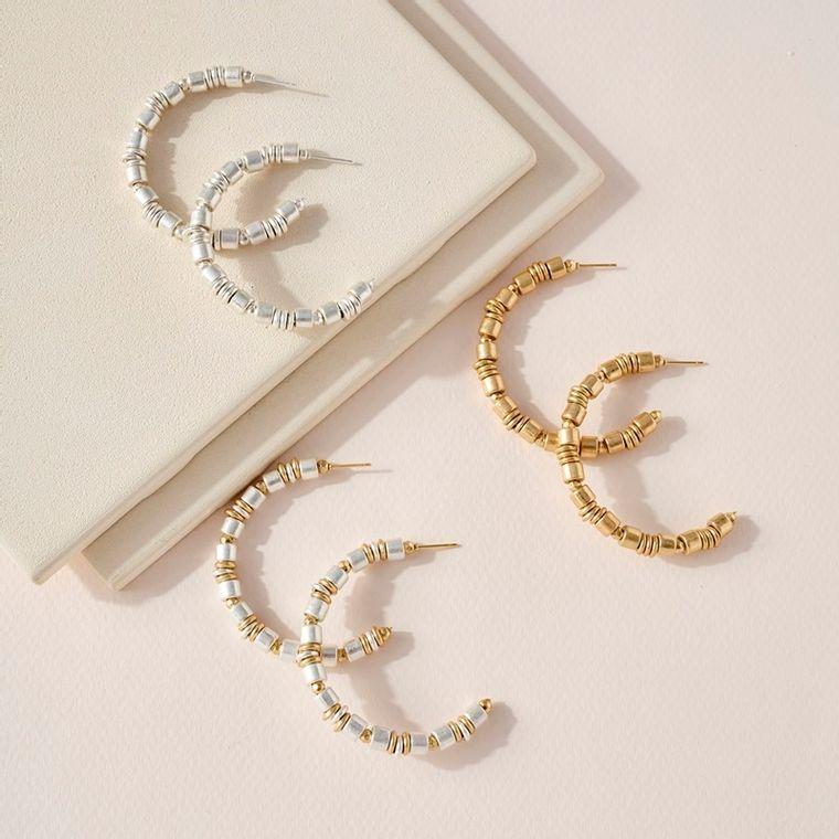 Metallic CCB Beaded Open Hoop Earrings