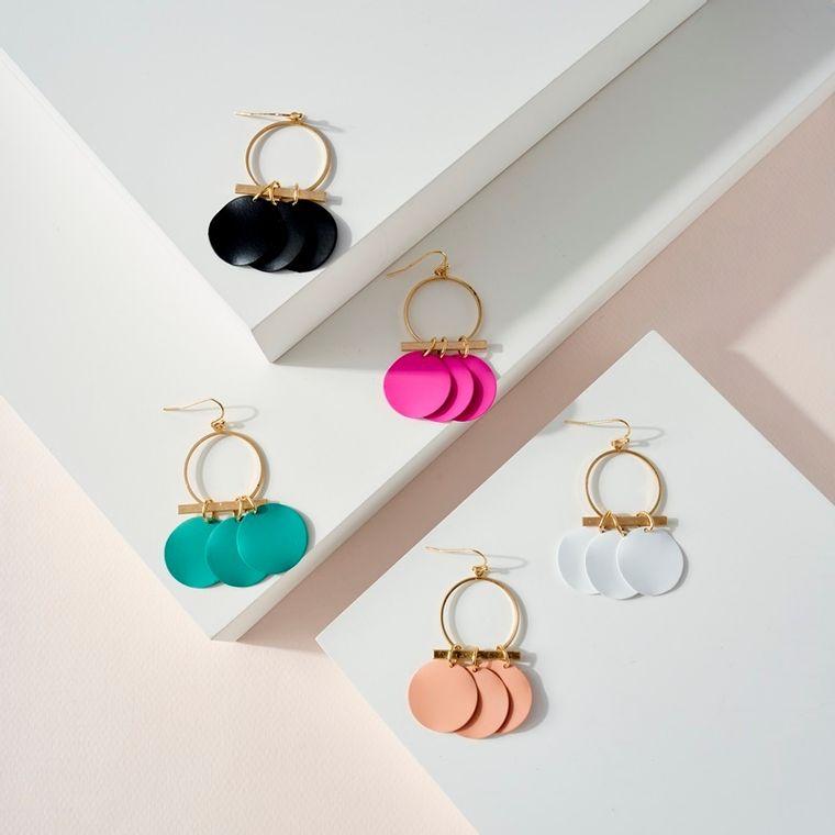 Colorful Disc Dangling Hoop Earrings