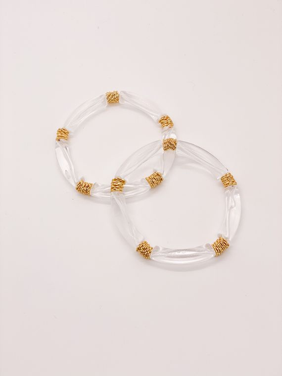 Mini Acrylic & Gold Plated Bangles (5 Acrylic Beads + Gold Plated Textured Beads)