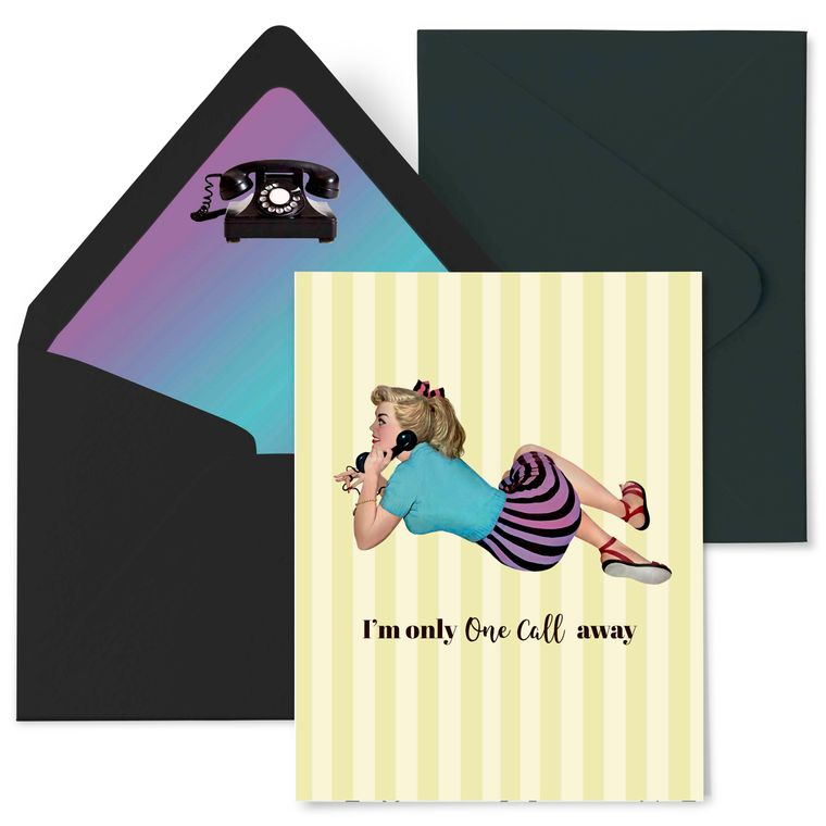 One Call Away Pinup Greeting Card