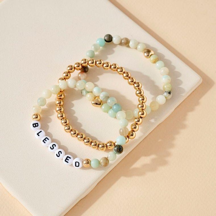 3 set of Stone Beads Stretch BLESSED Bracelets