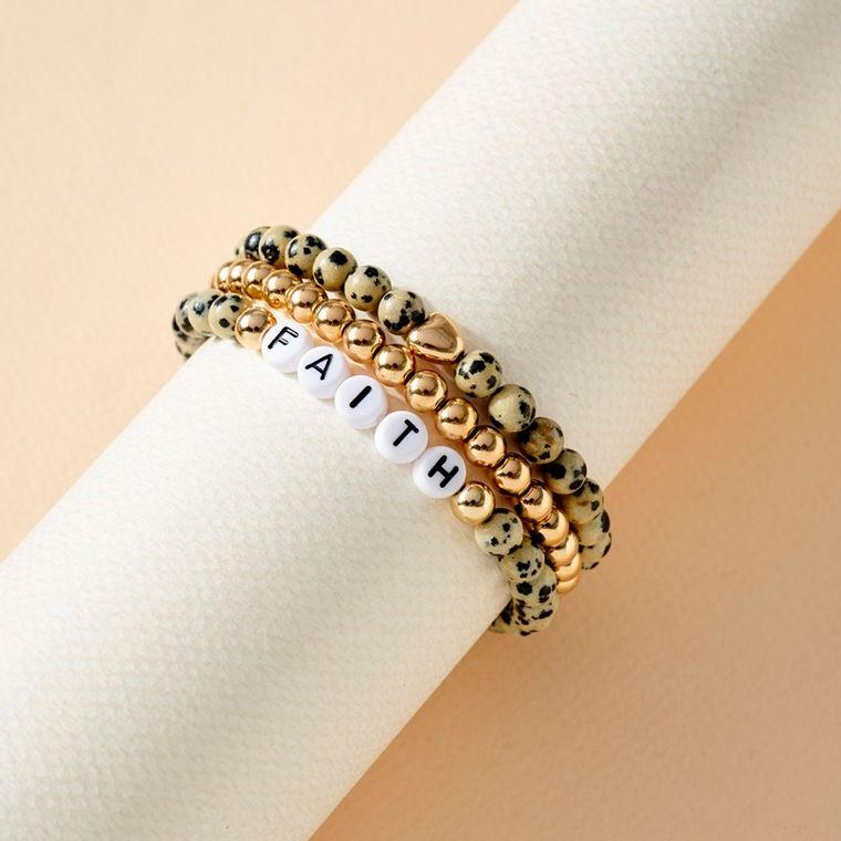 3 set of Stone Beads Stretch FAITH Bracelets