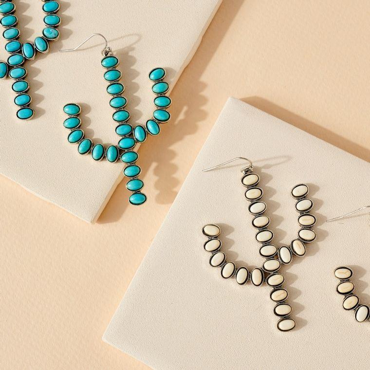 Western Style Cactus Dangling Earrings