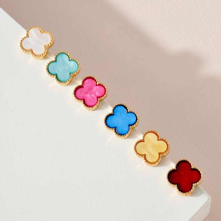 Clover Shaped Resin Post Earrings