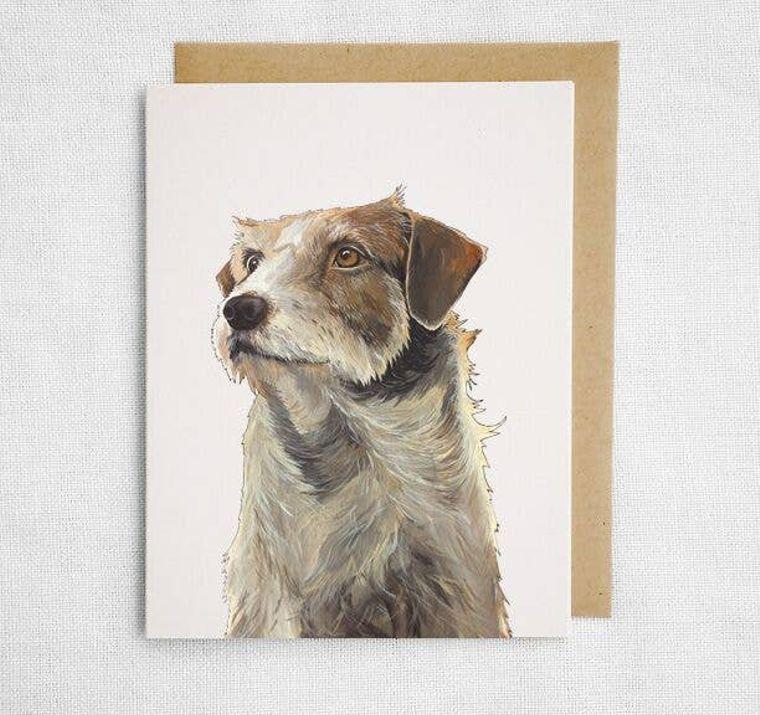 Brown & White Dog Card