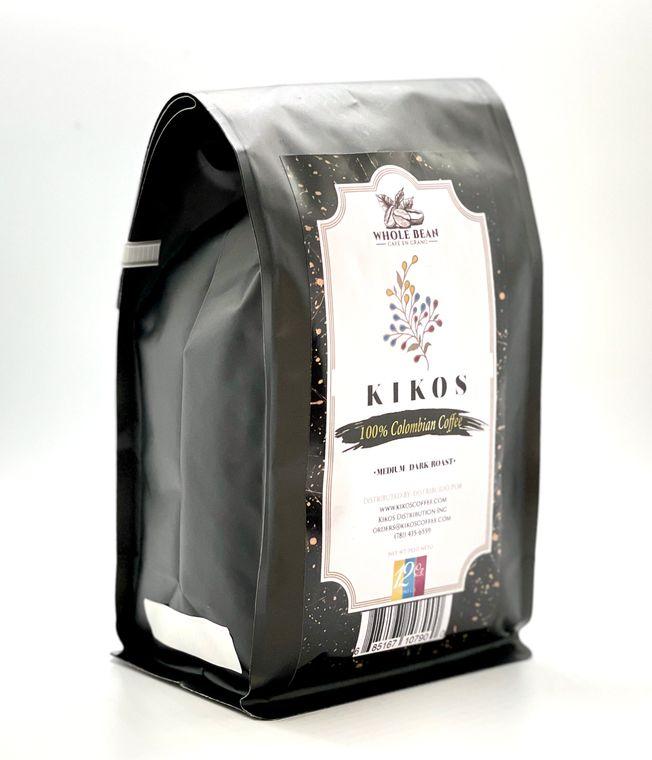 12 oz Kikos Colombian Coffee - Medium Dark Roast - Whole Bean Coffee