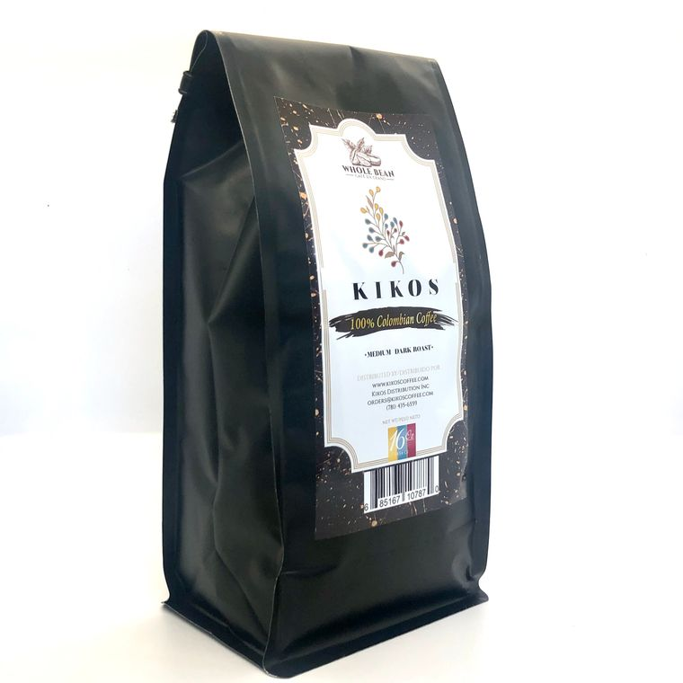 16 oz Kikos Colombian Coffee - Medium Dark Roast - Whole Bean Coffee