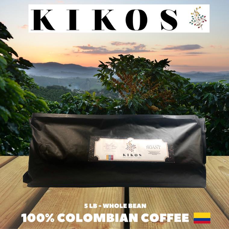 5 Lb Kikos Colombian Coffee - Medium Dark Roast - Whole Bean