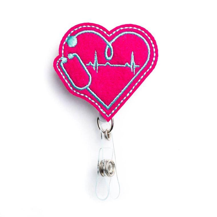 EKG Heart Badge Reel Holder