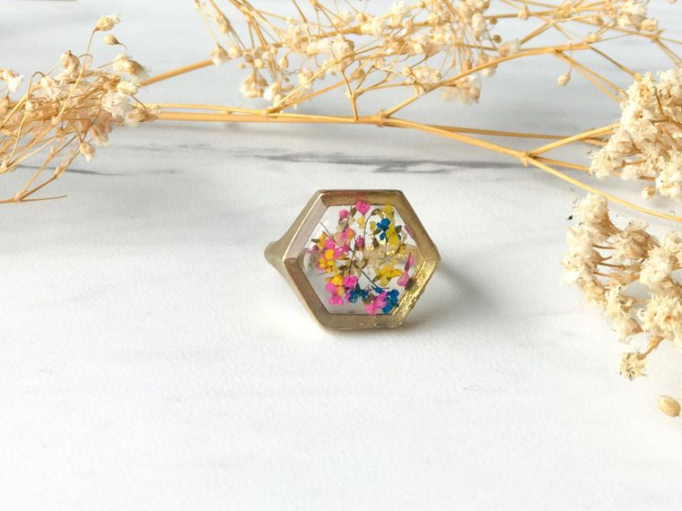 Hexagon Gold Real Pressed Flowers in Resin Ring