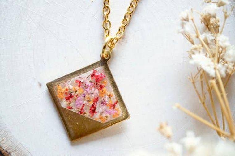 Brass Diamond Necklace in Pink, Red & Orange