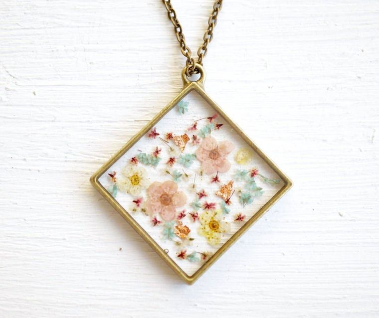 Magenta, Patel Pinks, Yellows & Blues Mix with Real Gold Foil Flakes Real Pressed Flowers and Resin Necklace