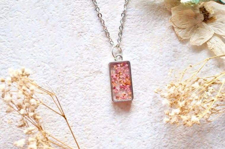 Real Dried Flowers in Rectangle Pink and Orange Resin Necklace