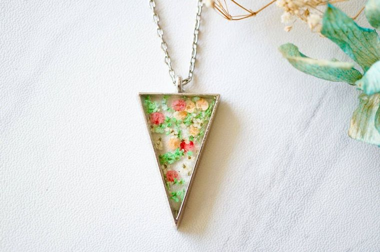 Silver Triangle in Green, Pink & Orange Real Pressed Flowers and Resin Necklace