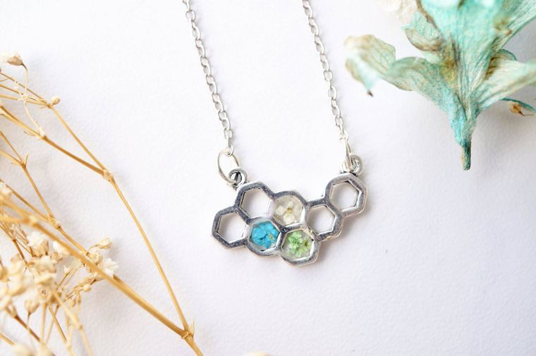 Honeycomb in Teal, White & Green Real Dried Flowers in Resin Necklace