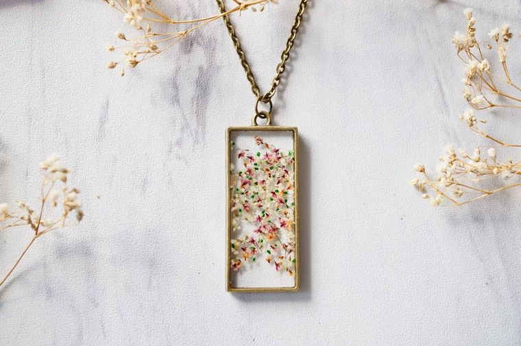 Rectangle in Pink, Orange & Green Mix Real Pressed Flowers and Resin Necklace