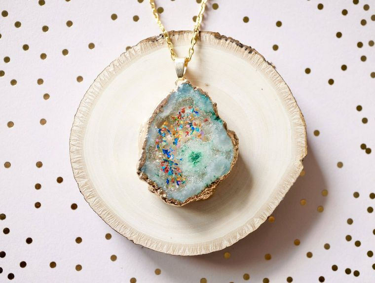 Mint Green Druzy Geode in Party Mix Real Dried Flowers in Resin Necklace