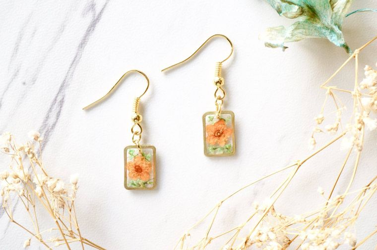 Gold Rectangle Drops in Orange & Green Real Dried Flowers and Resin Earrings