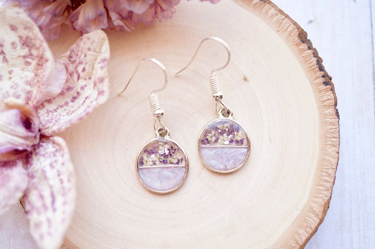 Real Dried Flowers and Resin Earrings