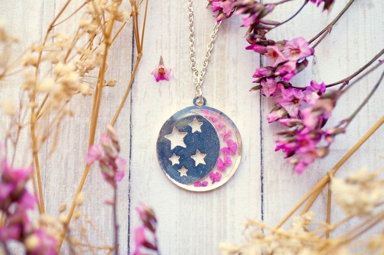 Real Pressed Flowers in Resin Silver Moon and Stars Necklace