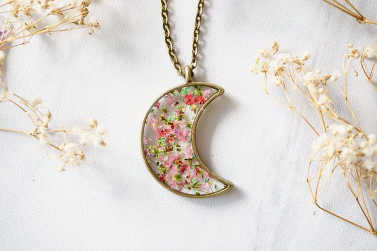 Moon in Greens & Pinks Mix Real Pressed Flowers and Resin Necklace