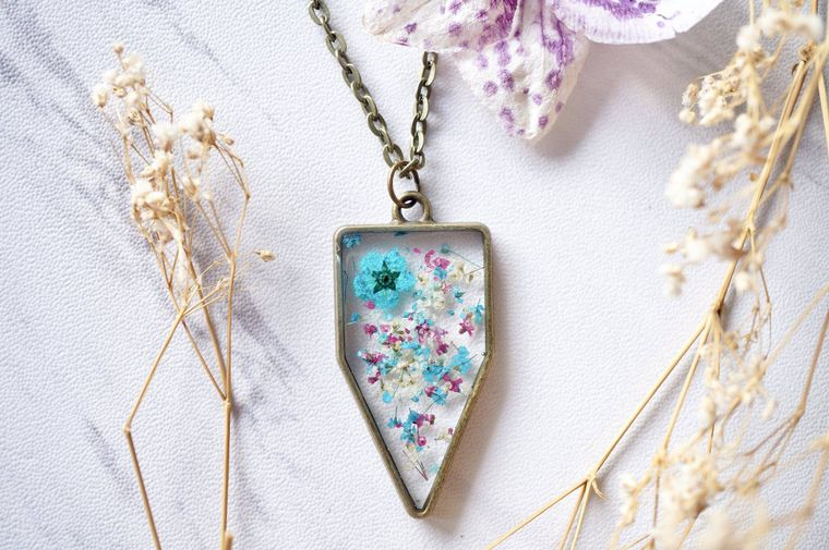 Arrowhead in Teal, Magenta & White Real Dried Flowers in Resin Necklace
