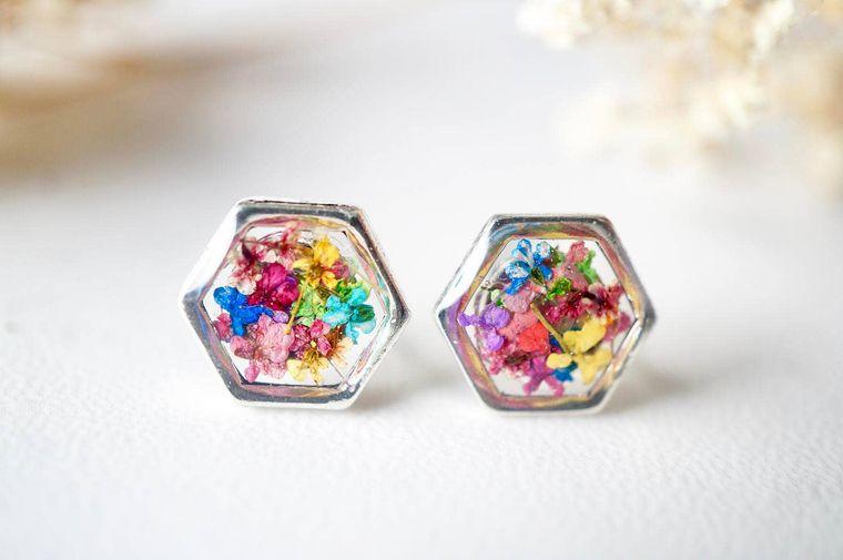 Real Pressed Flowers and Resin Stud Earrings