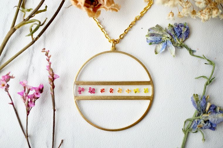 Real Pressed Flowers in Resin Gold Necklace