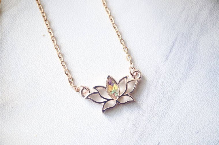 Rose Gold Lotus Flower Real Pressed Flowers and Resin Necklace