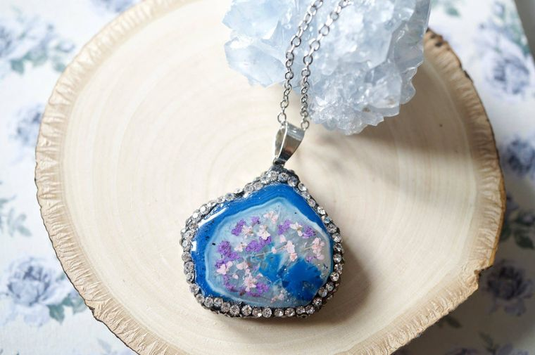 Blue Crystal Druzy Geode in Purple & Pink Real Dried Flowers in Resin Necklace