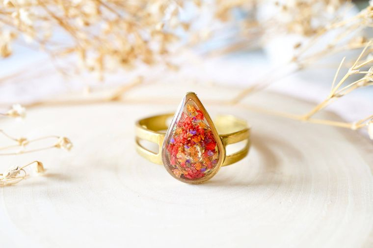 Real Pressed Flower and Resin Ring