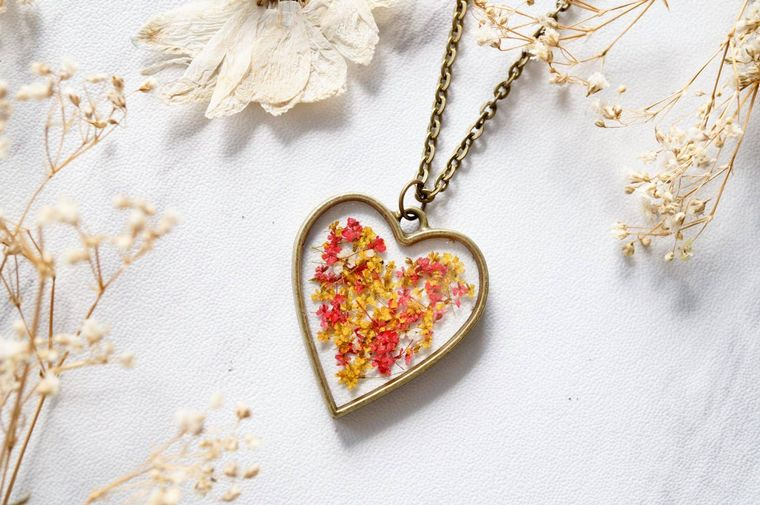 Heart in Red & Yellow Mix Real Dried Flowers in Resin Necklace