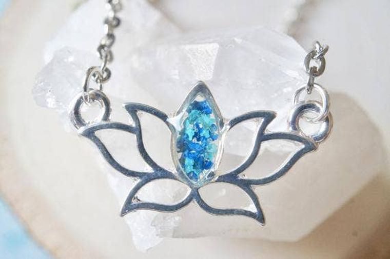Silver Lotus Flower Resin Necklace in Teal & Blue